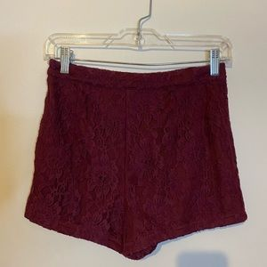 High waisted burgundy lace shorts